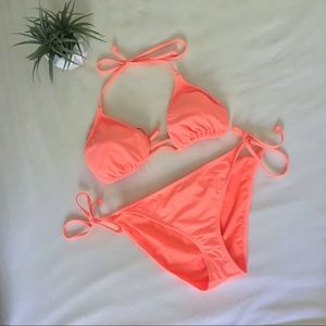 Joe Boxer Peach Orange String Bikini Set XL